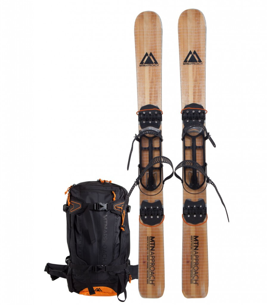 Unfolded skis and pack